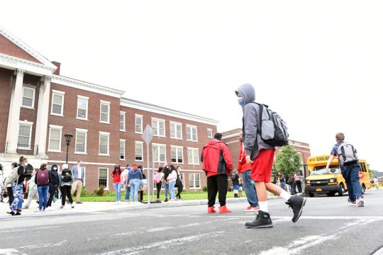 Students arrive for their first day of school at Mont Pleasant Middle School on Thursday, September 9, 2021.