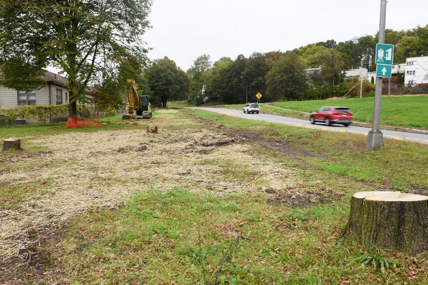 Trees are being removed along Route 5 for construction to begin to widen the road in Amsterdam on Friday.