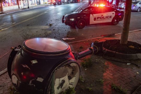 The pedestal clock at the corner of Broadway and State Street in Schenectady lies on its side after being struck by an SUV shortly after 11 p.m. Thursday. The female driver was taken to Albany Medical Center for treatment. She was also charged with DWI, police said.