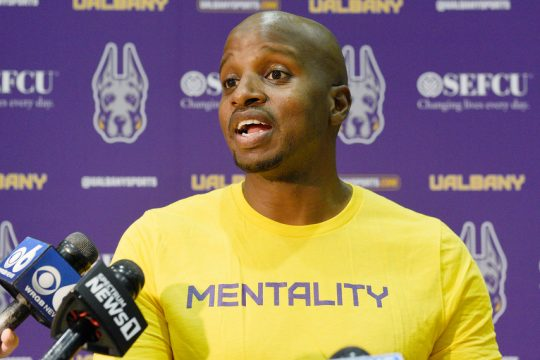 UAlbany men's basketball head coach Dwayne Killings speaks to media before practice at UAlbany SEFCU Arena in Albany on Tuesday, September 28, 2021.