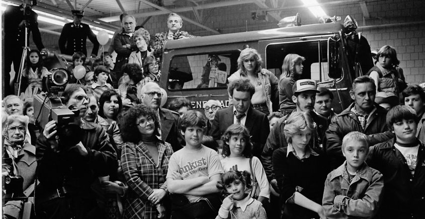 People crowd around a fire engine during dedication ceremonies at the new Schenectady Fire Department main station on Thursday, October 8, 1981.