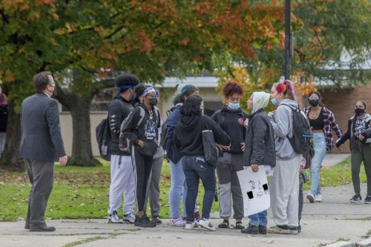 """Schenectady High School students stage a """"walkout"""" over a switch to 90-minute classes on Monday."""