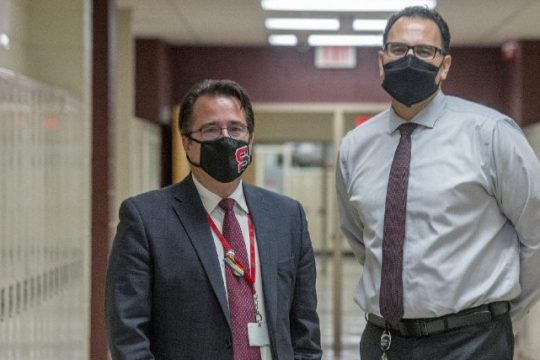 Schenectady High School Executive Principal Christopher Chank, left, and Acting High School Principal Dennis Green stand in a hallway atSchenectady High School on Monday.