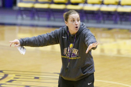 UAlbany women's basketball head coach Colleen Mullen during a practice at SEFCU Arena on Saturday, January 4, 2020.