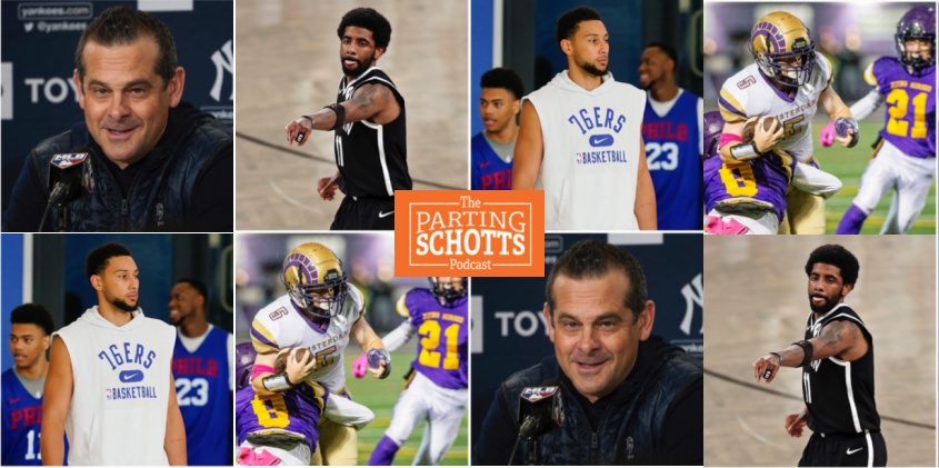 Clockwise: The Nets' Kyrie Irving, the 76ers' Ben Simmons, the Yankees' Aaron Boone and high school football are the topics on the latest 'The Parting Schotts Podcast.'