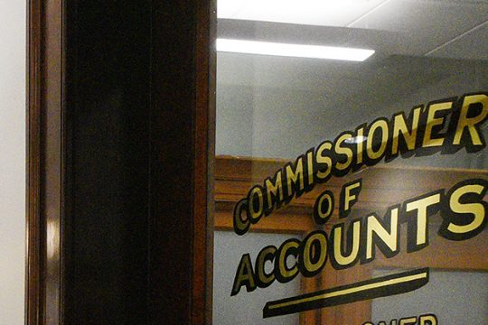 The office of the Commissioner of Accounts in the Saratoga Springs City Hall in Saratoga Springs.