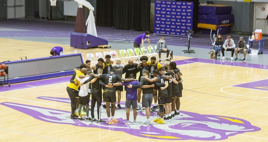 The UAlbany men's basketball team huddles during practice at SEFCU Arena in Albany on Tuesday, September 28, 2021.