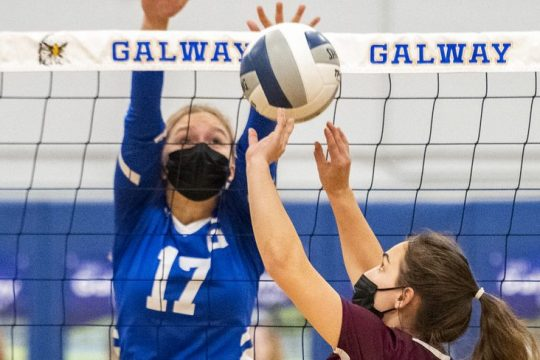 Fonda-Fultonville's Amber Cole sets up a shot in front of Galway's Anna Dabrowskiduring a Western Athletic Conference girls' volleyball match on Thursday.