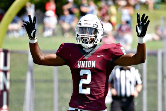 Union College wide receiver Andre Ross Jr. is all smiles after catching his first touchdown of the 2021 season.