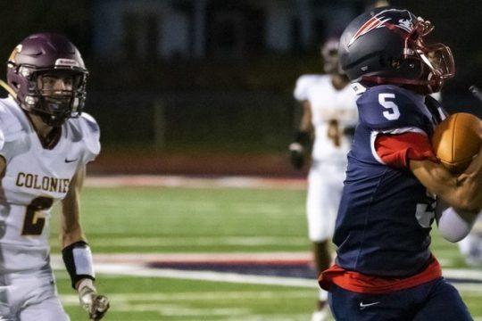 Schenectady's Jakeim Edge hauls in a touchdown pass against Colonie on Friday.
