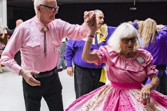 96-year-old Toni Cilberti of Scotia square dances with Herman Forsell at the Rotterdam Elks Lodge Saturday.