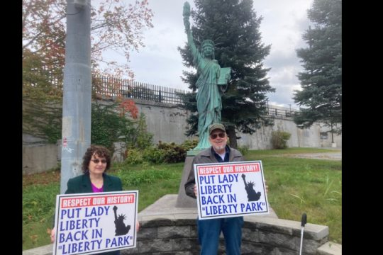 Janice Evans Thompson and Lance Jackson are planning a rally to move the statue back to its former home