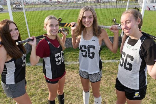 Scotia-Glenville field hockey players Mackenzie and Morgan Westbrook, and Angelina and Isabella Regels on Thursday, Oct. 21.