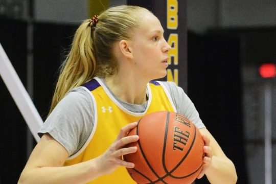 Freja Werth during a Tuesday, September 29, 2021 UAlbany women's basketball practice at SEFCU Arena in Albany. (Michael Kelly/The Daily Gazette)