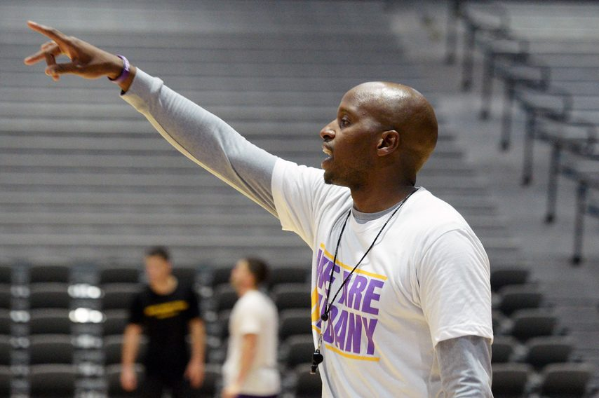 UAlbany men's basketball head coach Dwayne Killings during conditioning work at SEFCU Arena in Albany on Monday, July 6.