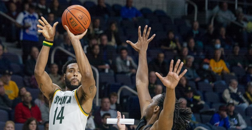 Siena's Jordan Kellier with the ball against Saint Rose's Cartier Bowman during the exhibition game at TU Center in Albany on Monday, October 25, 2021.