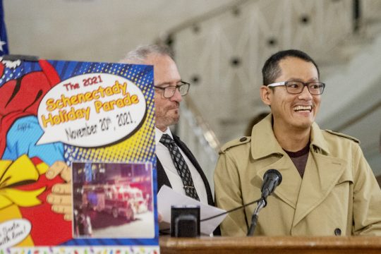 Grand Marshal and Nurse of the Year MSRN at Ellis Hospital ICU, Rodel Sumiran of Niskayuna, speaks as they announce the Schenectady Holiday Parade Tuesday