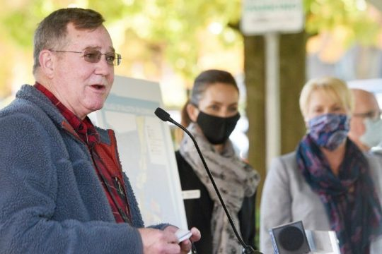 Ballston Spa Mayor Larry Woolbright speaks at Wiswall Park in Ballston Spa on Oct. 14, 2020.